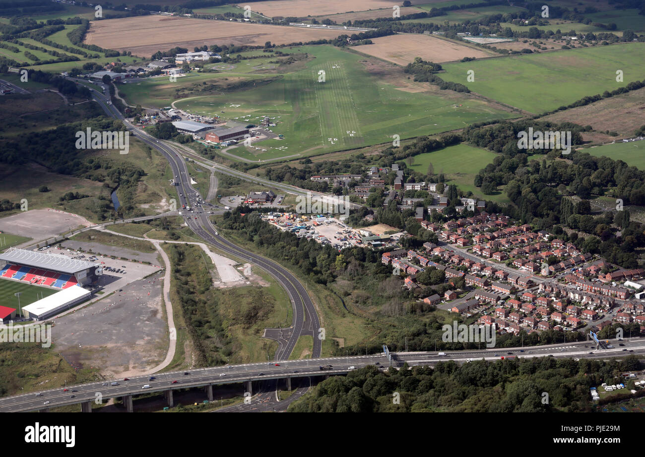 aerial view of Manchester City Airport or Barton Airfield as it is more often known - Stock Image