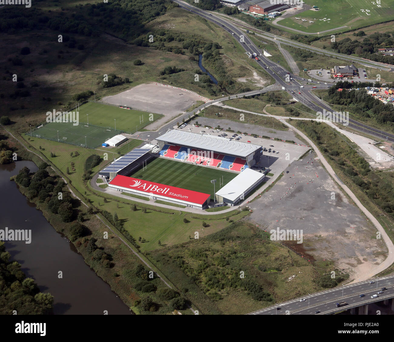 aerial view of the AJ Bell Stadium, Barton, Manchester - Stock Image