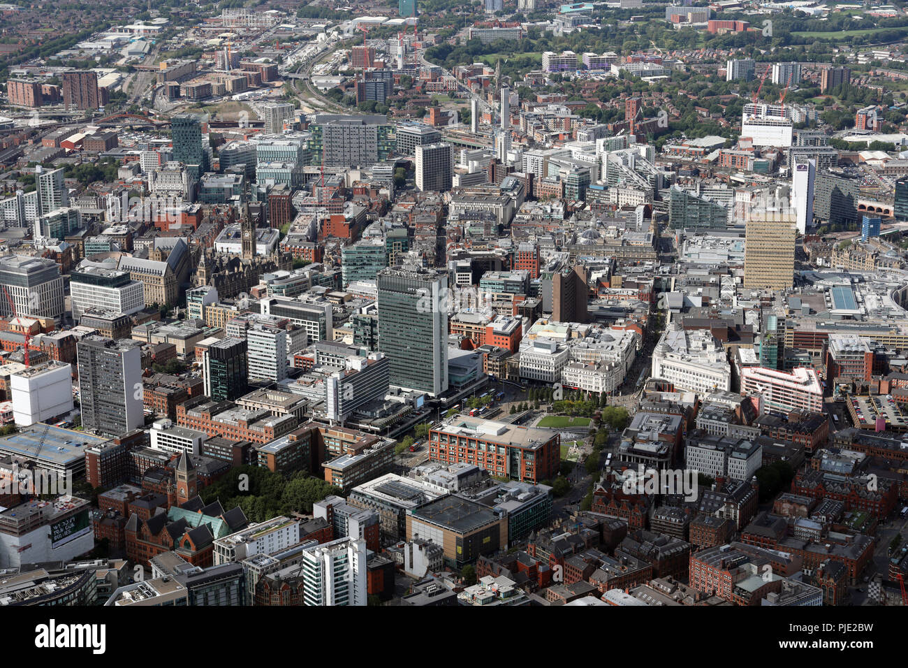 aerial view across Piccadilly Gardens in Manchester city centre, with City Tower office block prominent - Stock Image