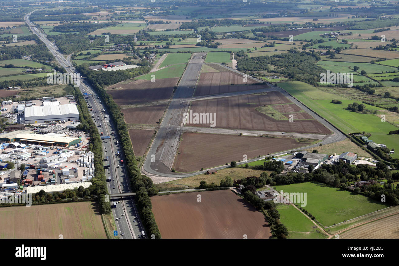 aerial view of Stretton Airfield near Warrington, Cheshire - Stock Image