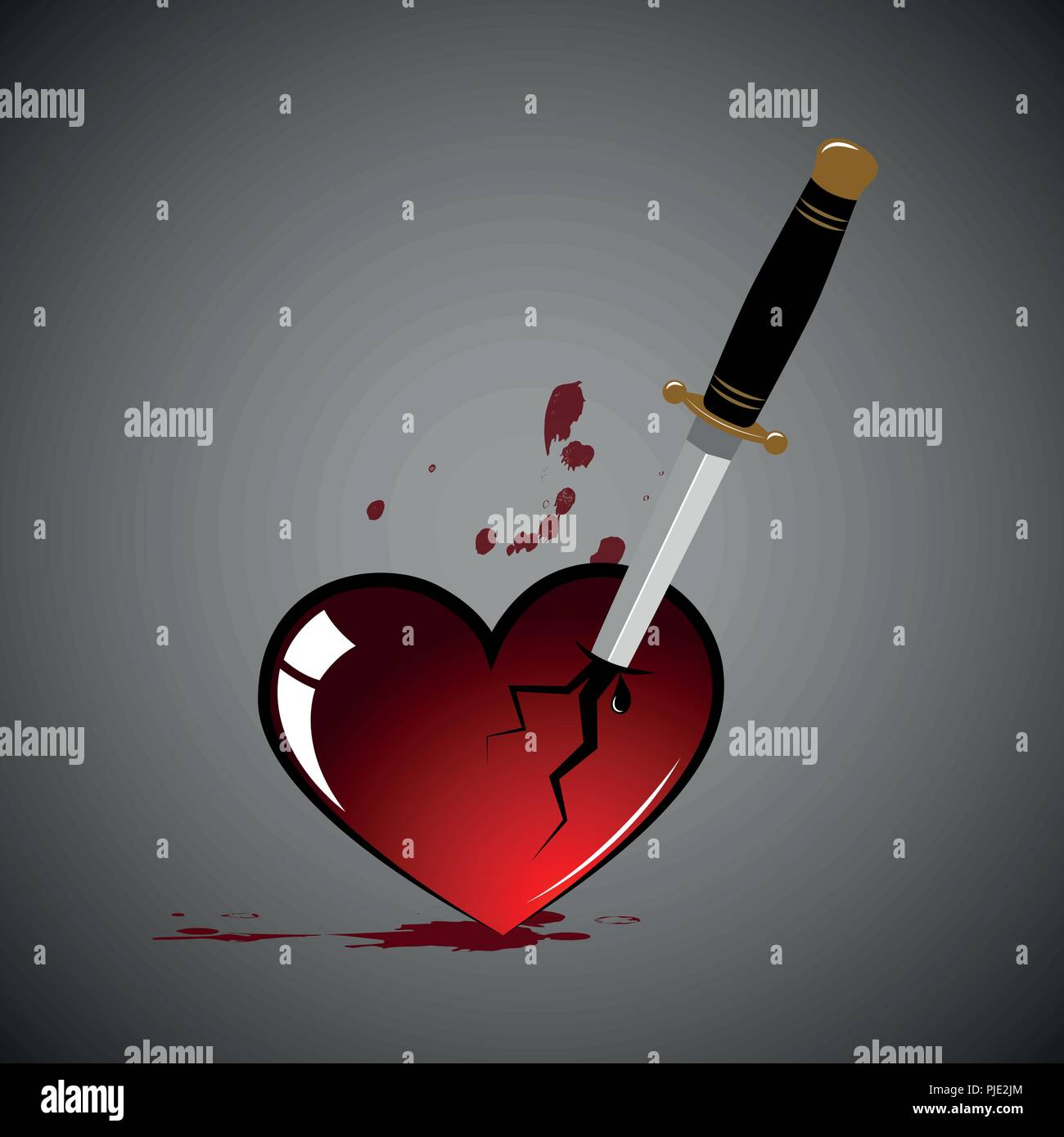 broken heart with blood and dagger vector illustration EPS10 - Stock Vector