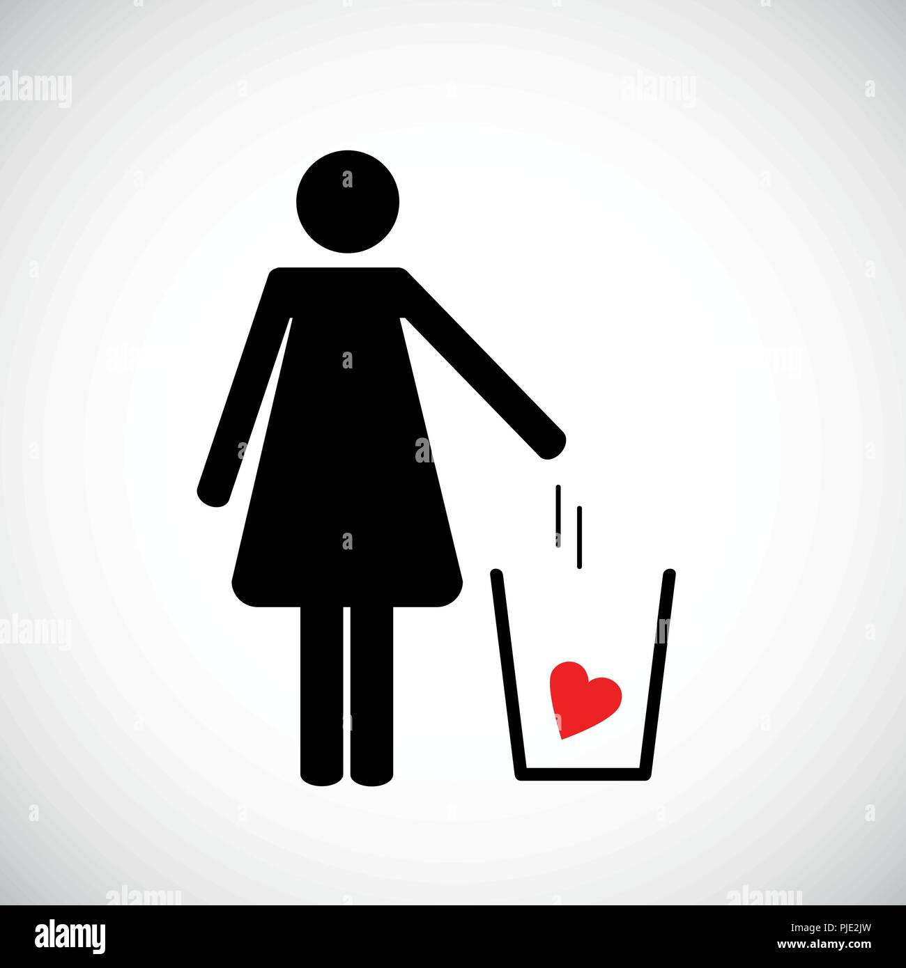woman throws heart in the trash pictogram icon vector illsutration EPS10 - Stock Image