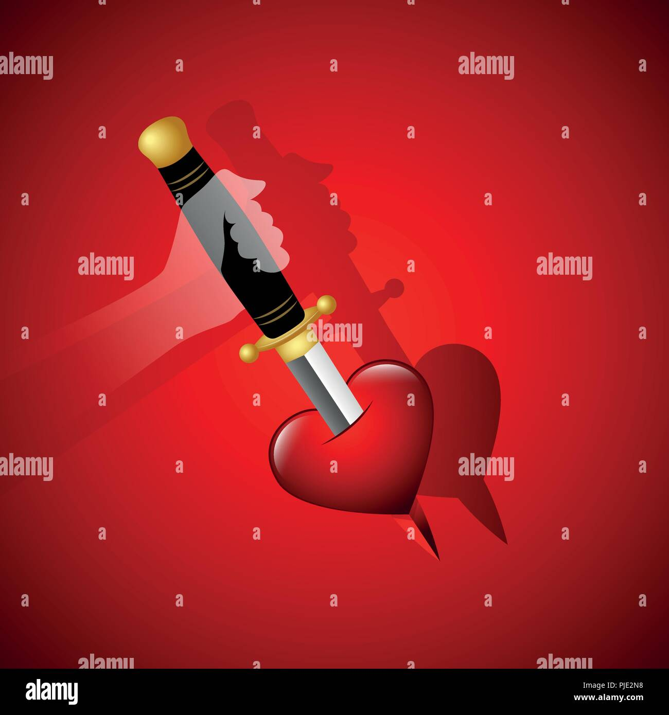 broken heart with blood and dagger ghost hand vector illustration EPS10 - Stock Vector