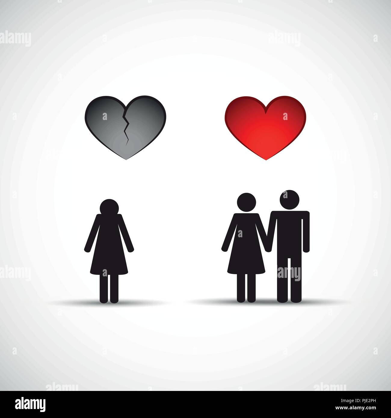 Man leaves wife and starts new relationship pictogram vector illustration EPS10 - Stock Image