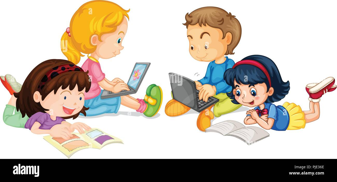 a group of student studying on white backgroud illustration stock