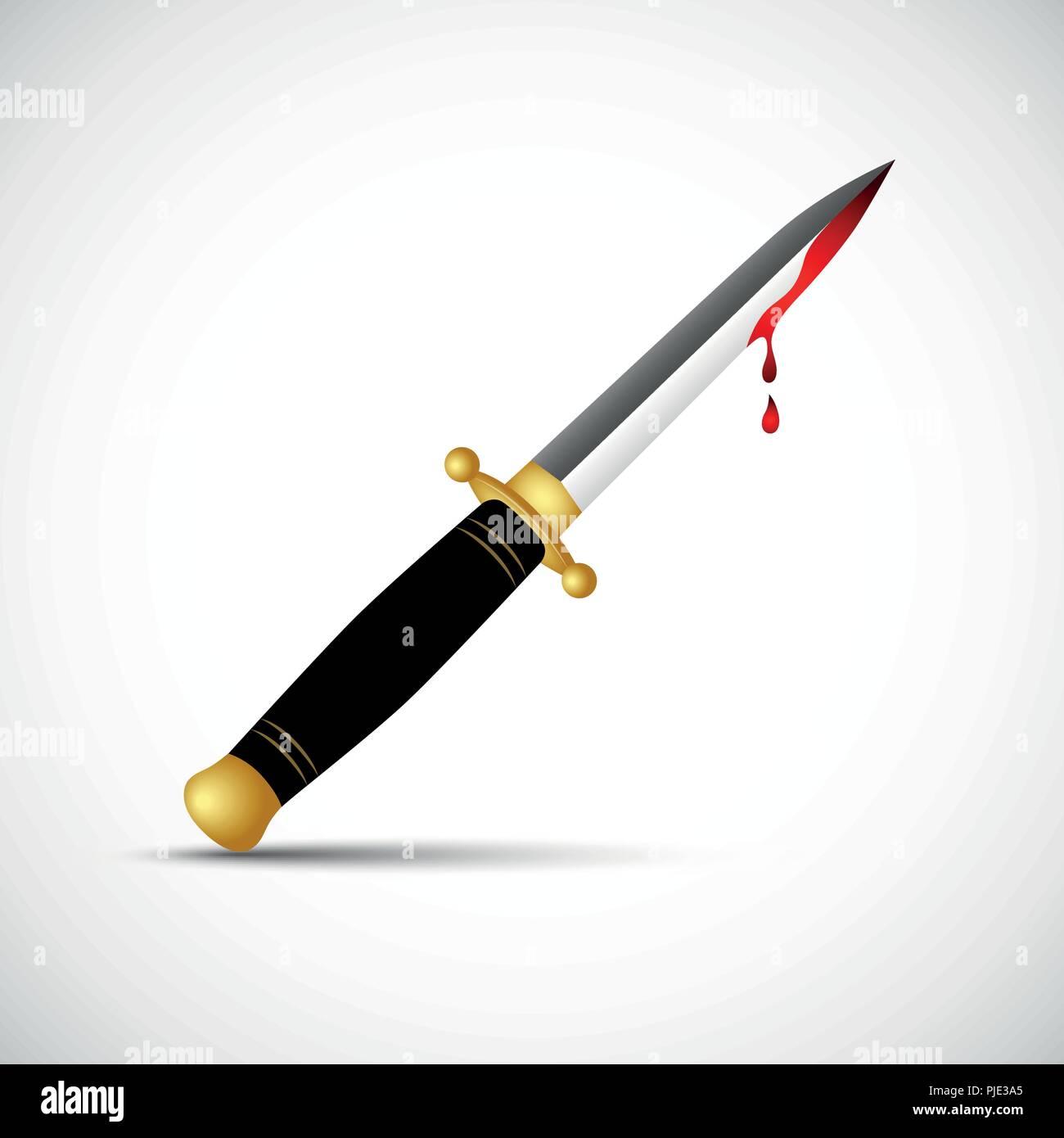 sharp bloody dagger knife isolated vector illustration EPS10 - Stock Vector