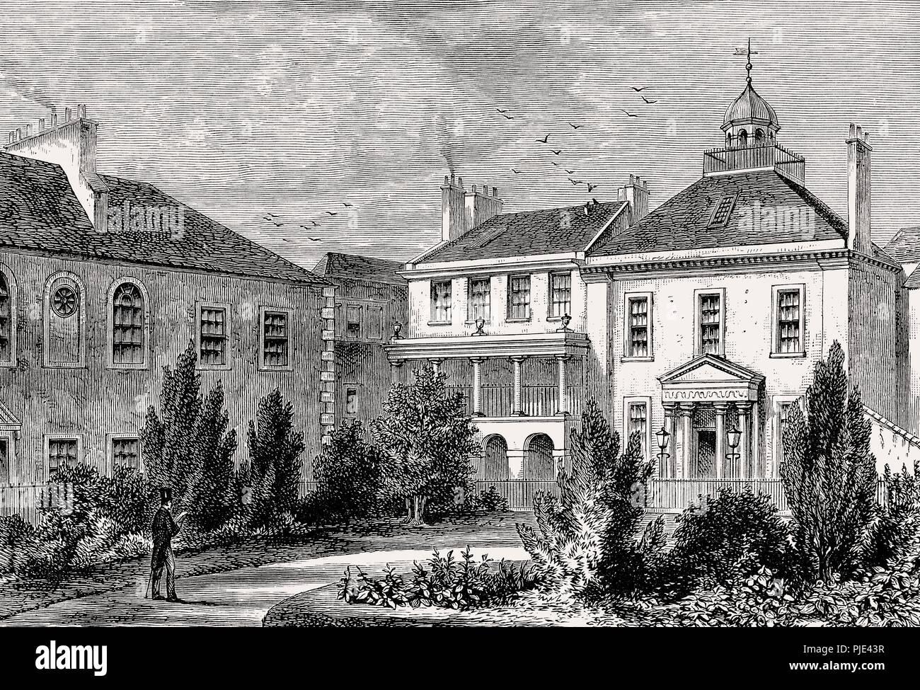 Surgeon's Square in 1829, Edinburgh, Scotland - Stock Image