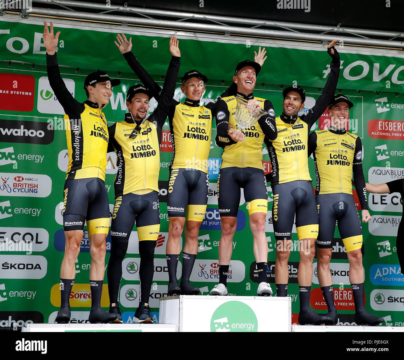 d032ebcf5 Primoz Roglic (2nd left) with his Team LottoNL-Jumbo