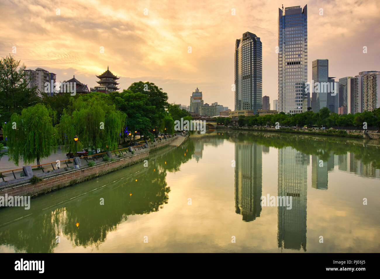 Cheng Du City is an ever-present in the city's storied heritage. Prosperous metropolis combination of grandeur and historic architecture. - Stock Image