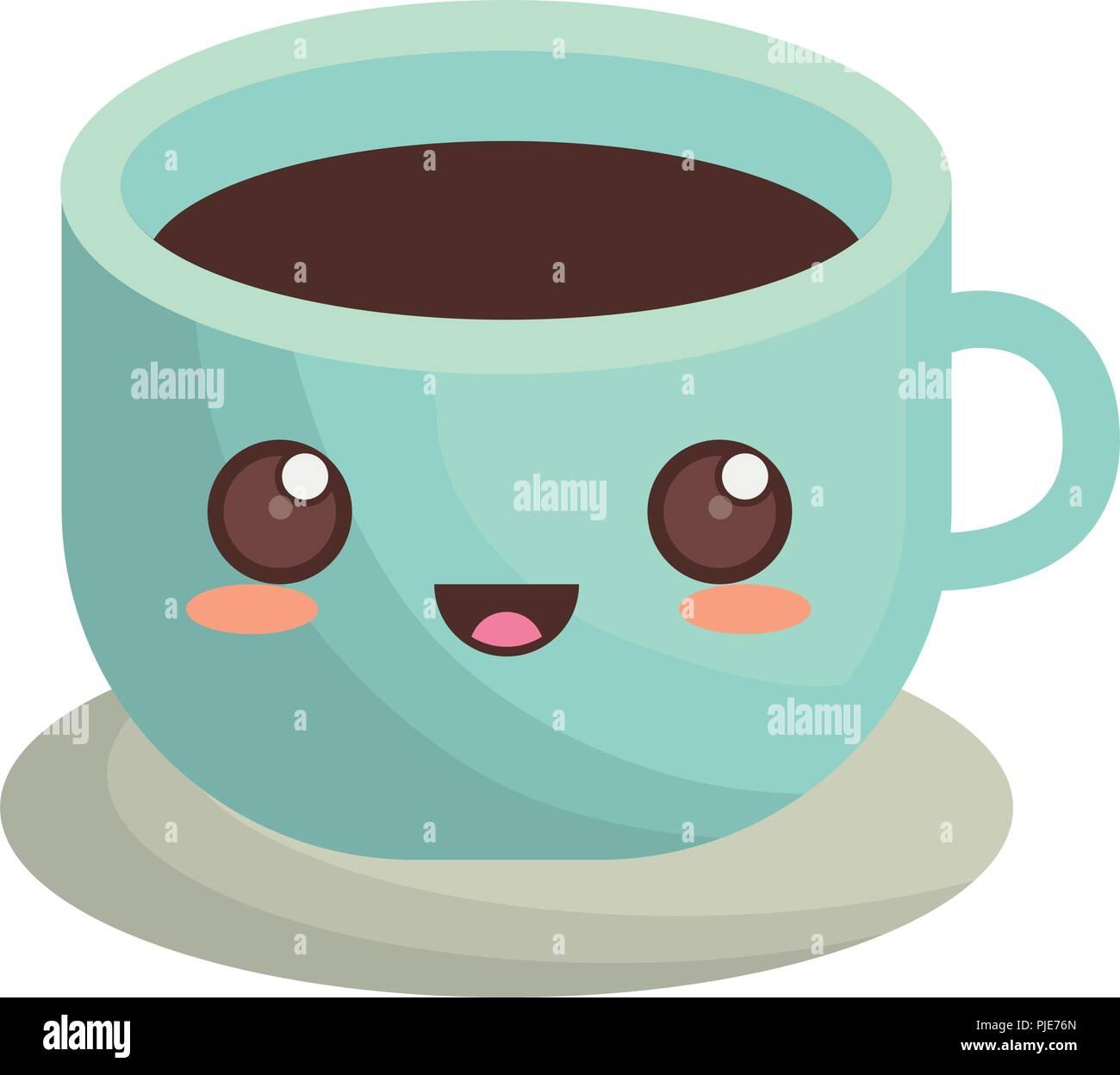 Over BackgroundVector Coffee Illustration Mug White Kawaii Icon mNn08wOyv