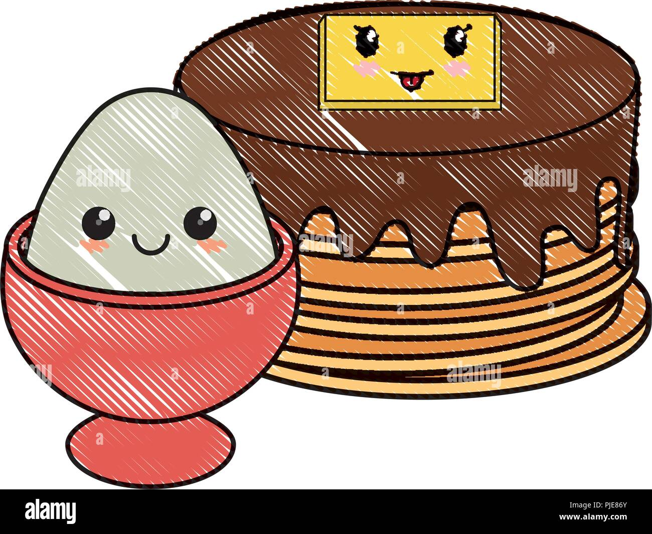 kawaii pancakes and egg over white background, vector illustration - Stock Image