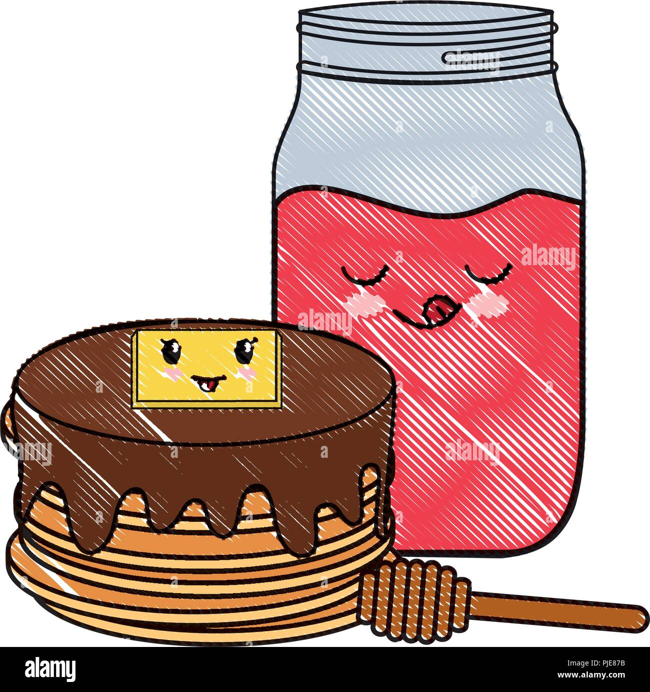 kawaii pancakes and marmalade bottle over white background, vector illustration - Stock Image