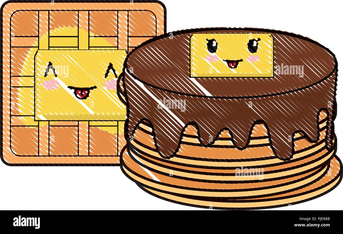 kawaii pancakes and waffles over white background, vector illustration - Stock Image