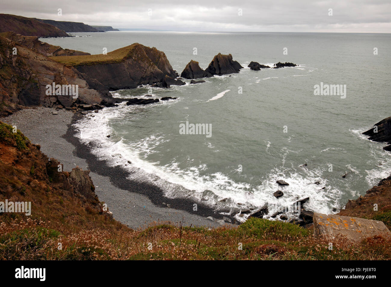 Cliffs and bay to the south of Hartland Quay - Stock Image