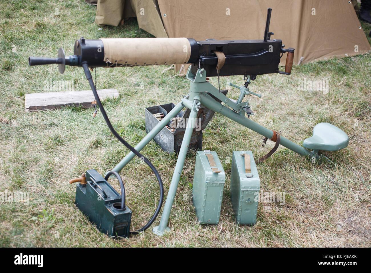 WWI german machine gun MG 08 with amunition belt - Stock Image