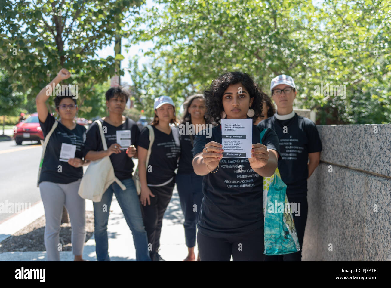 Washington DC / August 23, 2018: Women's rights group protests the nomination of Kavanaugh to be Supreme Court Justice - Stock Image