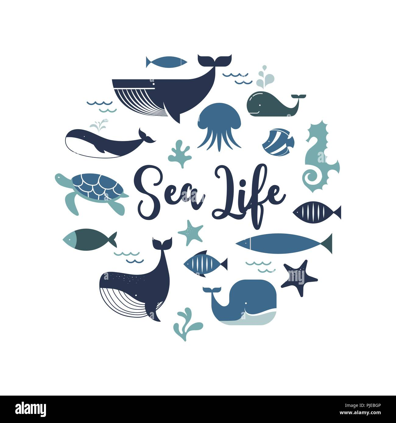 Sea life, whales, dolphins icons and illustrations, poster design - Stock Image