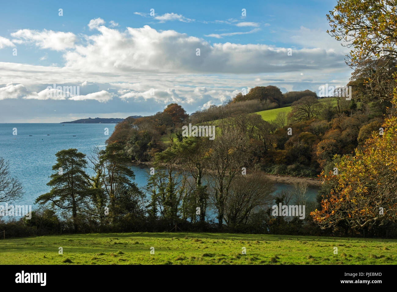 View Of Carrick Roads And River Fal Near Truro In Cornwall, England, Britain, Uk. Stock Photo