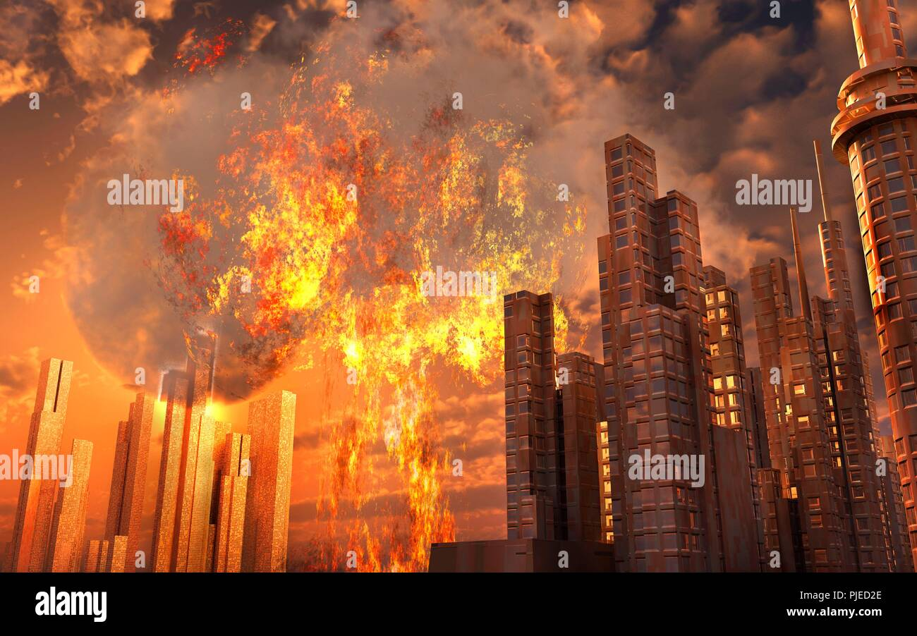 Nuclear Attack On A City. - Stock Image