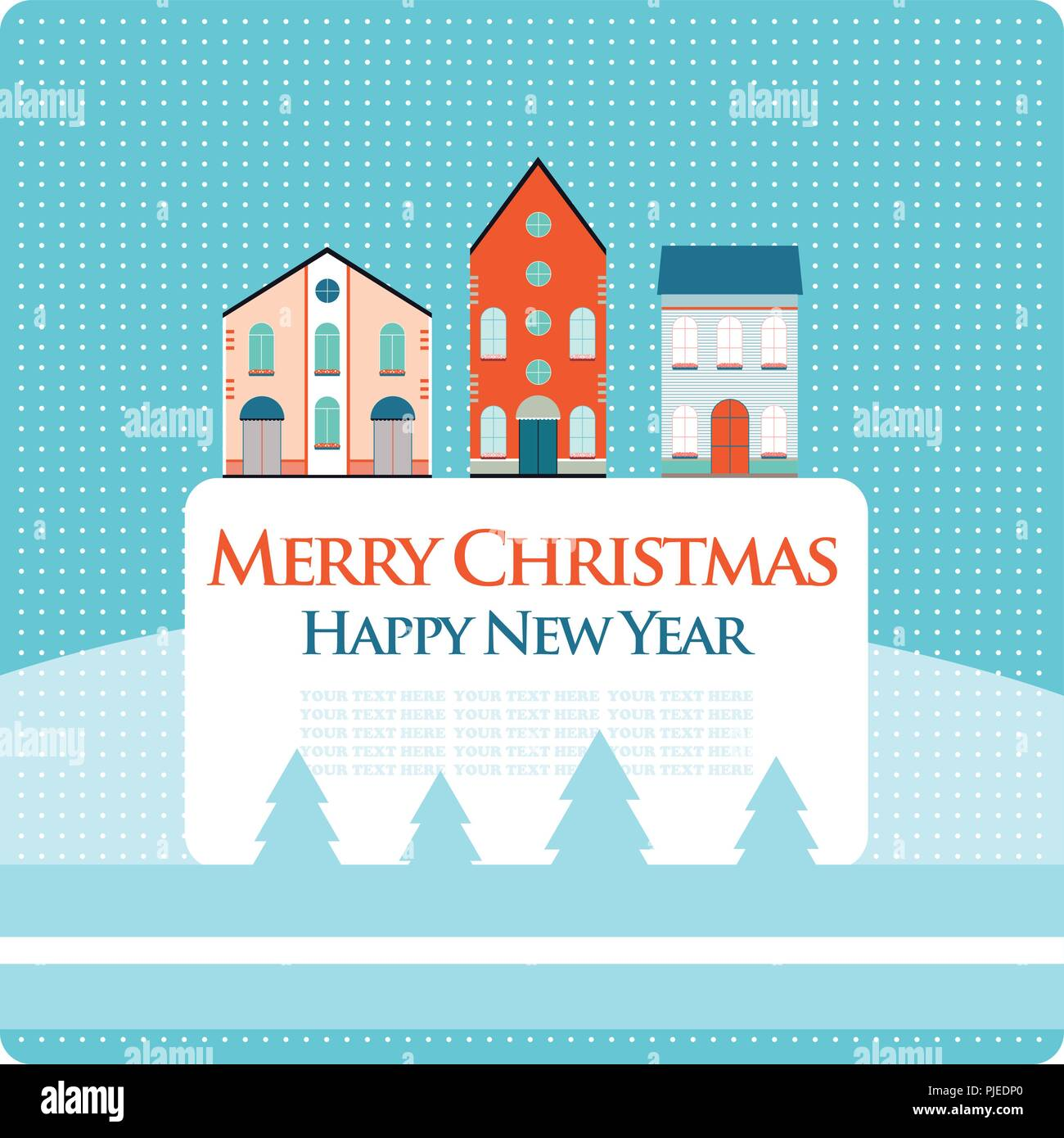 christmas new year greeting card with street view with lovely houses in small town