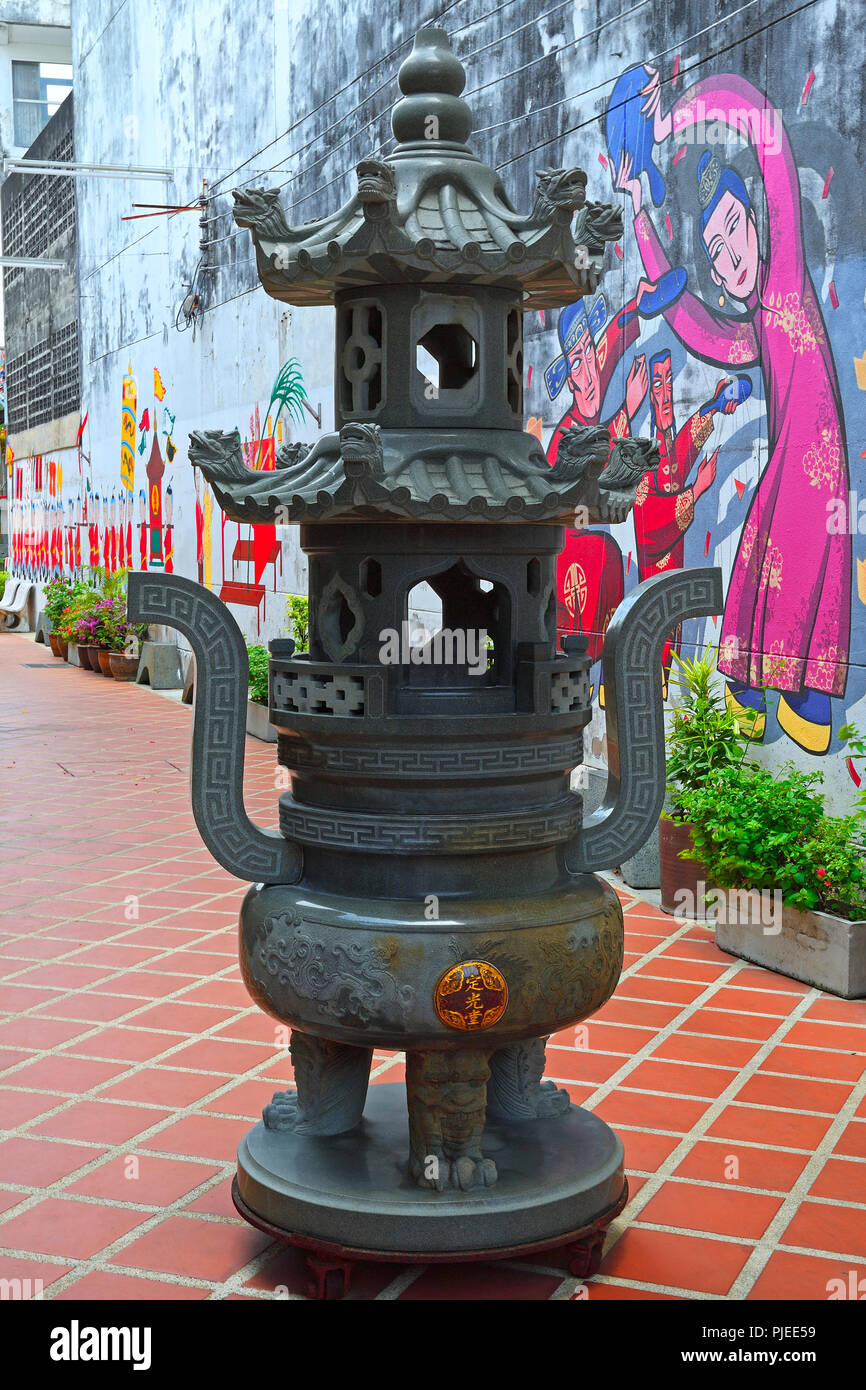 traditional Chinese pagoda lamp in chinesichen Shrine of the Serene Light, Sangtham Shrine, Phuket, Thailand, traditionelle chinesische Pagodenlampe i Stock Photo