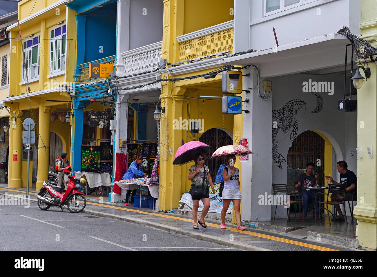 historical houses restored in the Portuguese style in Phuket Town, Phuket, Thailand, historische, im portugiesischem Stil restaurierte Häuser in  Phuk - Stock Image