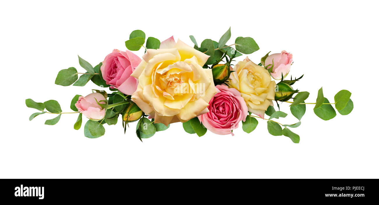 Pink And Yellow Rose Flowers With Eucalyptus Leaves In Arrangement
