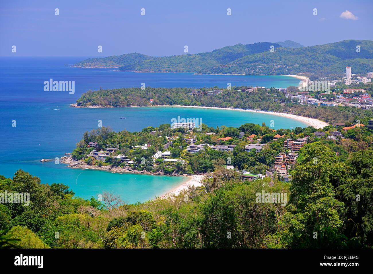 Look at Karon and Patong Beach of the Karon Viewpoint, Phuket, Thailand, Blick auf Karon und Patong Beach vom Karon Viewpoint - Stock Image