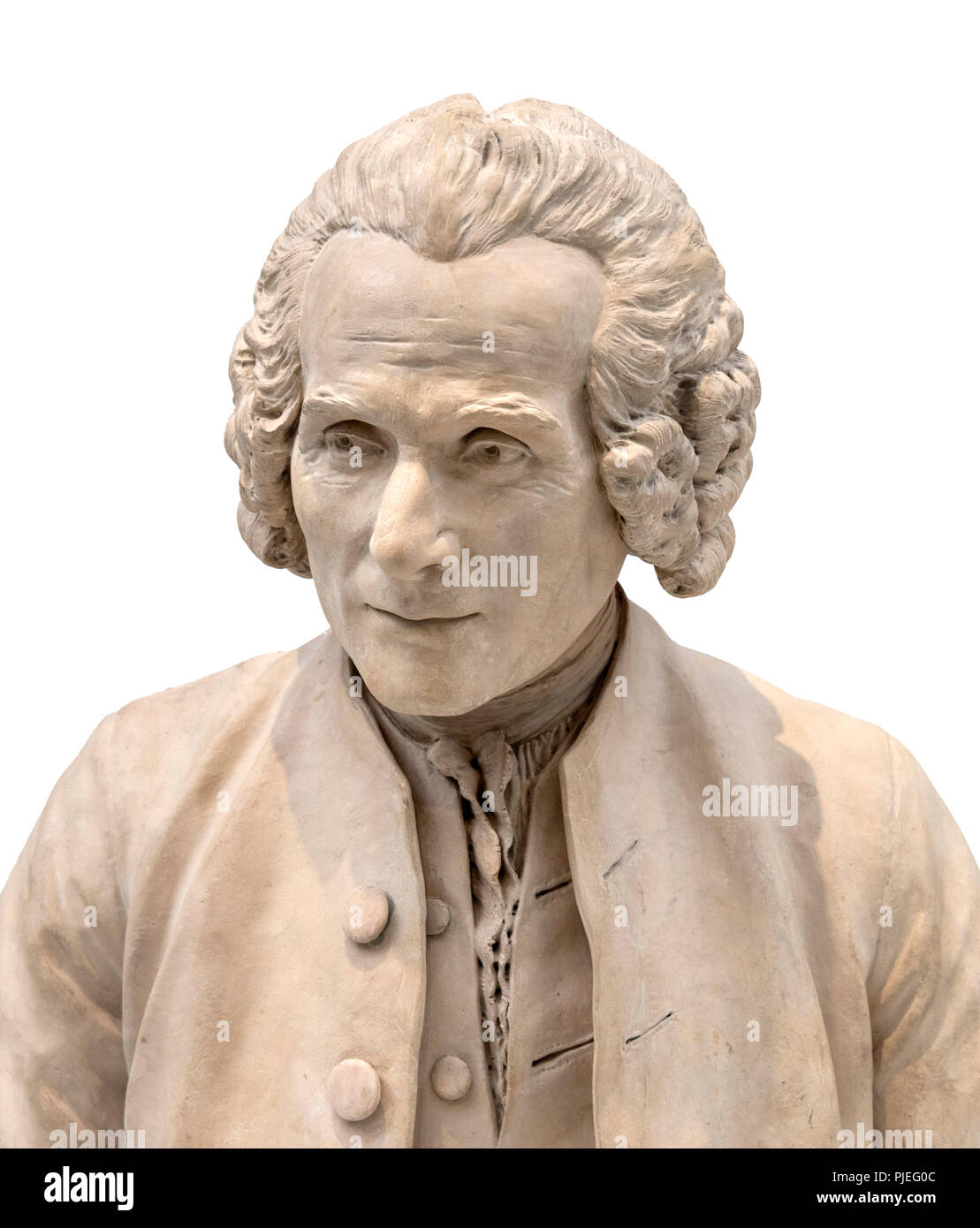 Jean-Jacques Rousseau (1712-1778). Bust of the Geneva born philosopher by Jean-Antoine Houdon (1741-1828), 1779 - Stock Image