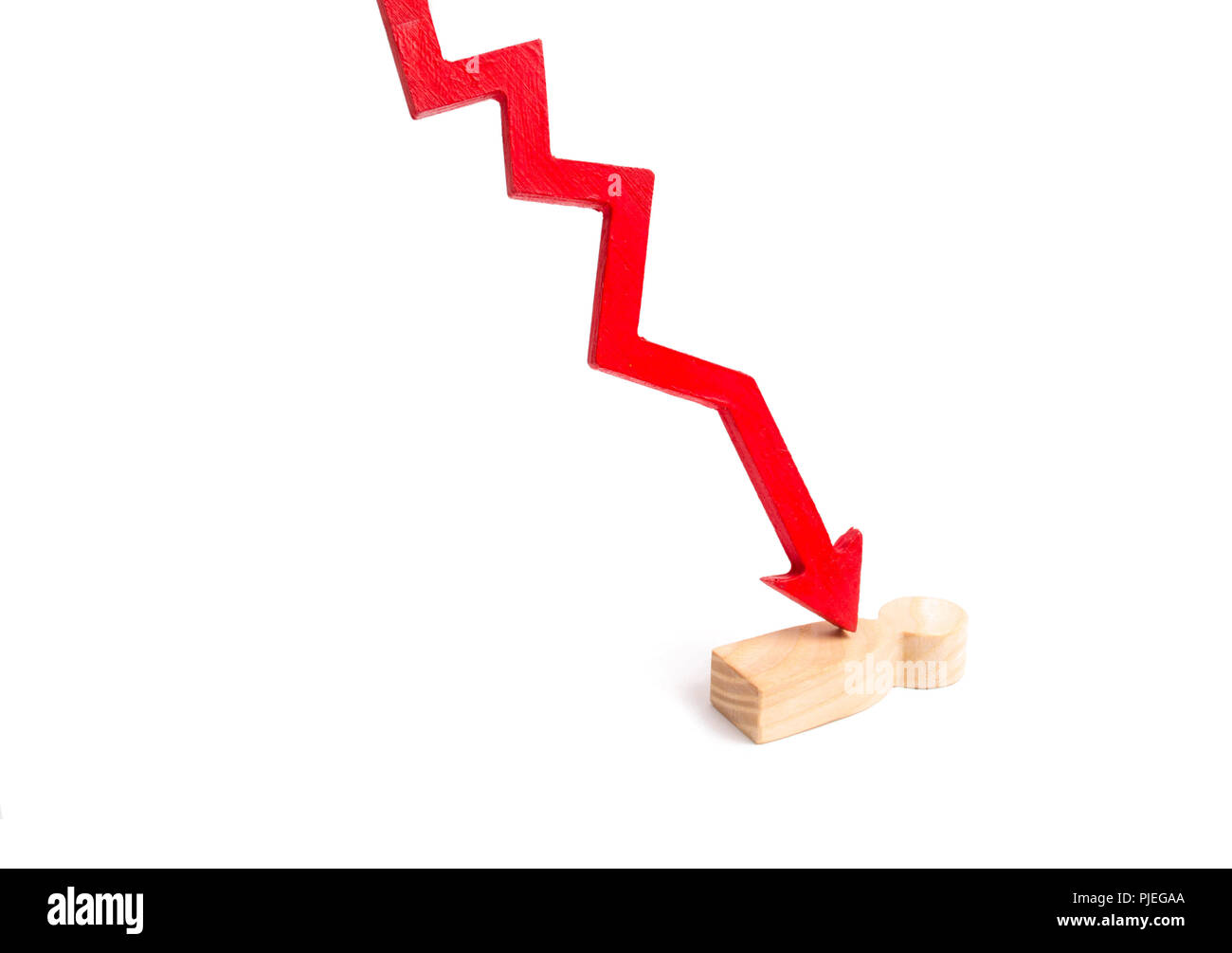 The red arrow cleaves the person. The concept of psychological pressure. Victim of the economic crisis, falling quotations and the collapse of the mar - Stock Image