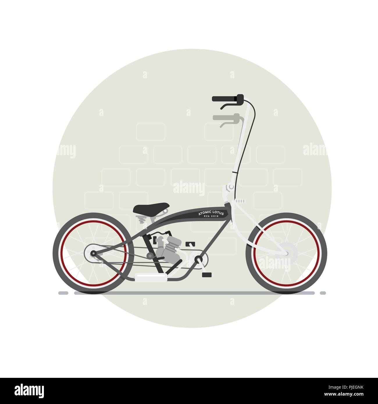 Bicycle with ape hanger handlebars - Stock Image