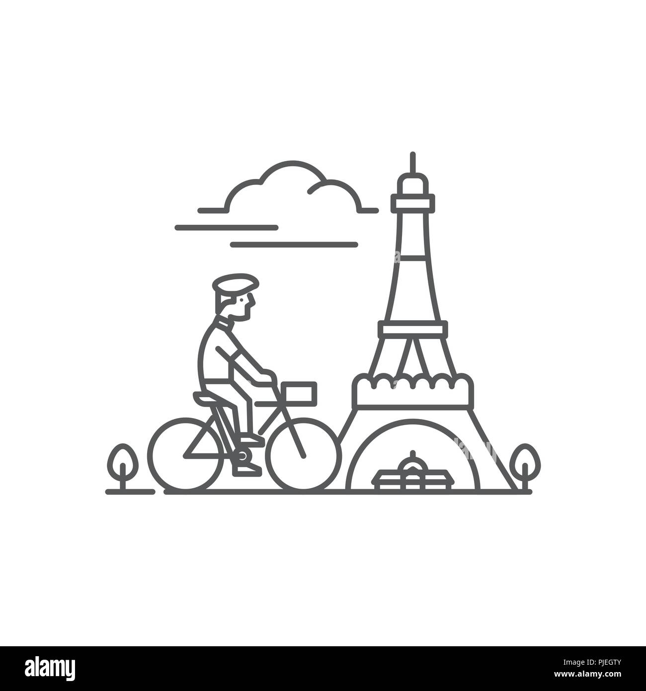 Man riding bike in front of Eiffel Tower - Stock Vector