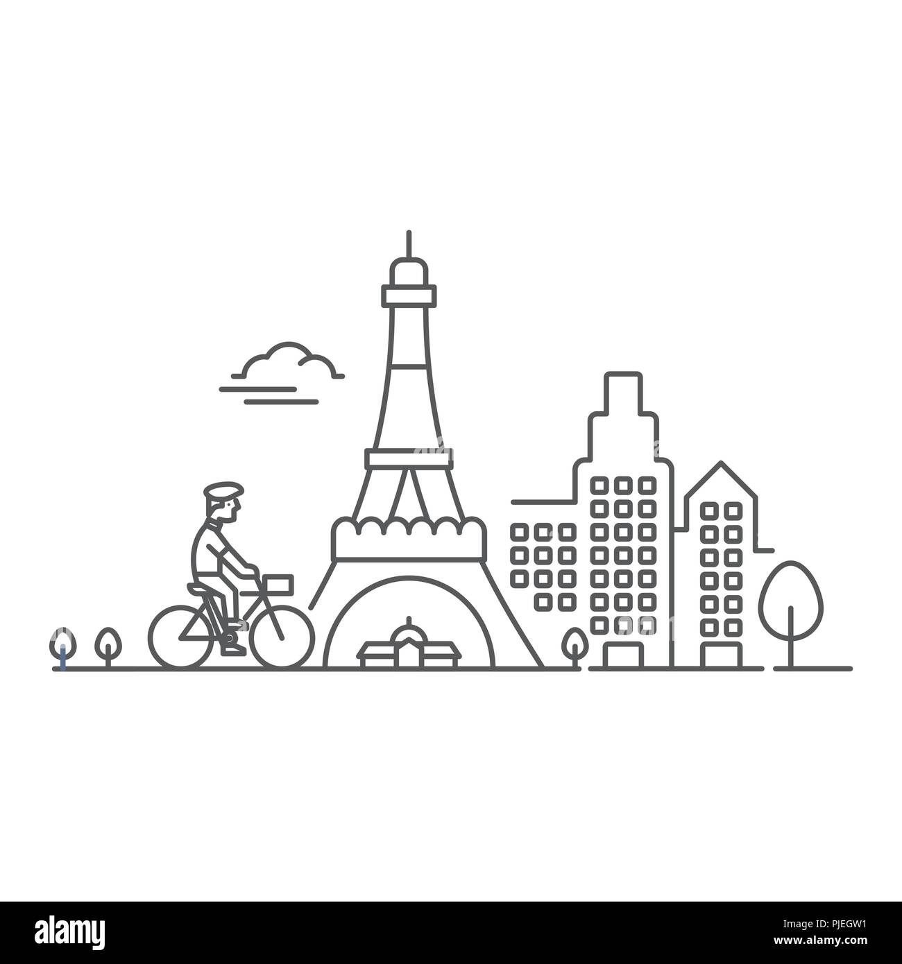 Man riding bike in Paris near Eiffel Tower - Stock Vector