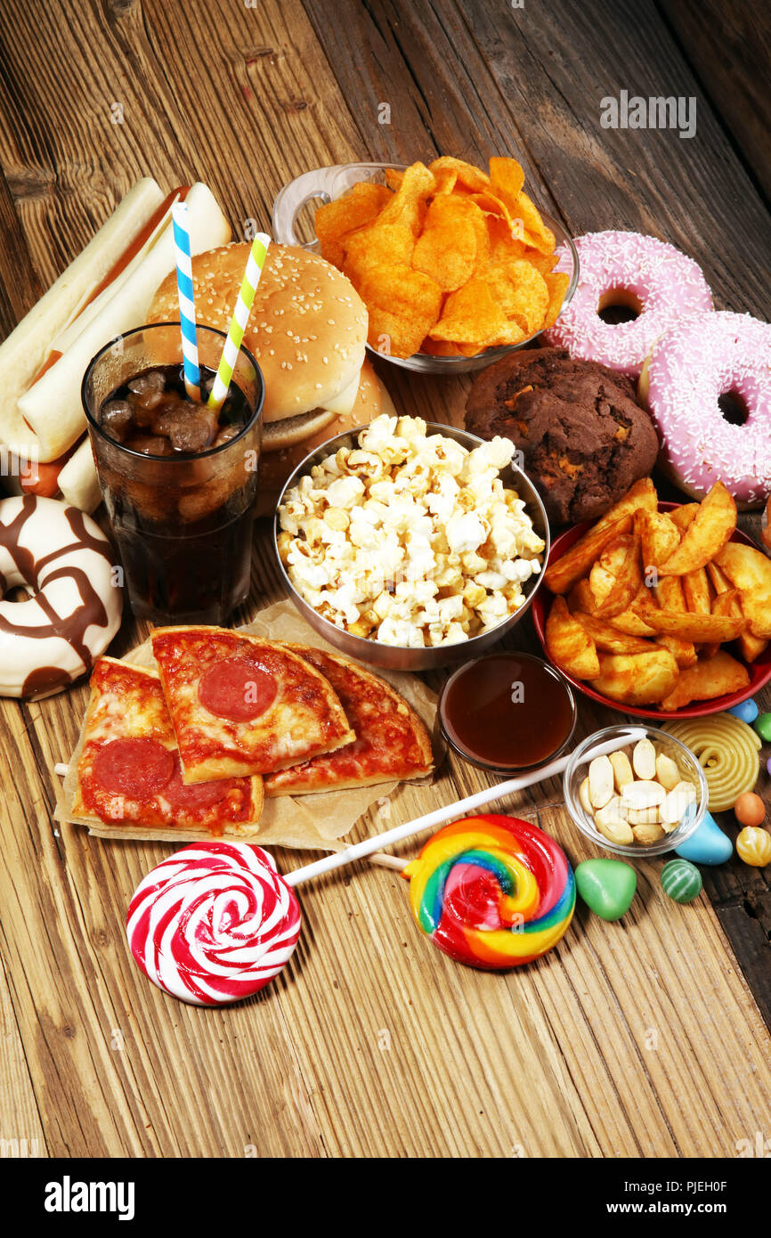 Unhealthy products  food bad for figure, skin, heart and teeth