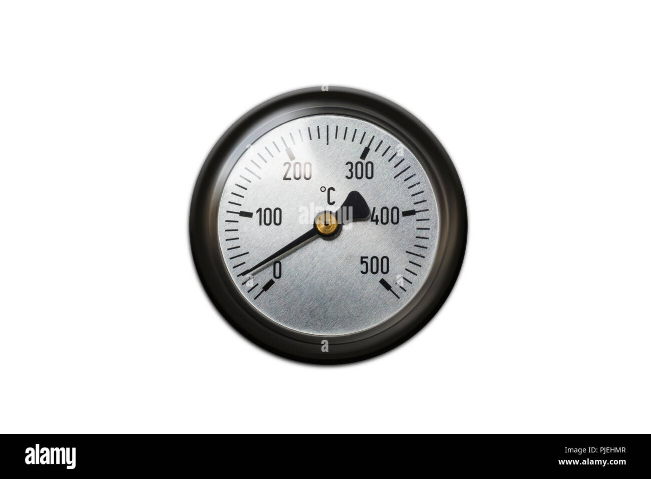 Celsius thermometer temperature gauge from a heater isolated  - Stock Image
