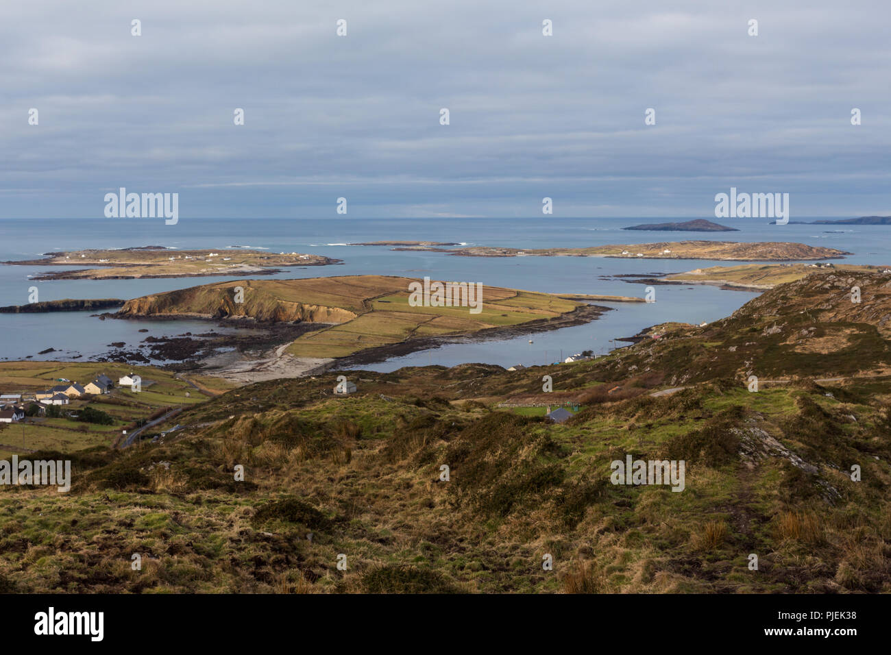 Islands on west coast of Ireland in Atlantic Ocean as viewed from Sky Road, Clifden, Connemara, County Galway, Ireland. - Stock Image
