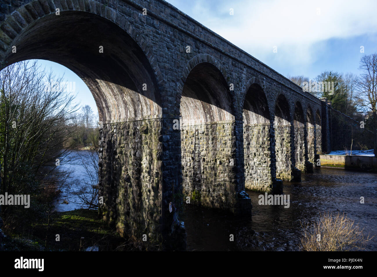 Disused train Viaduct over River Maine in Randalstown, County Antrim, N.Ireland. - Stock Image