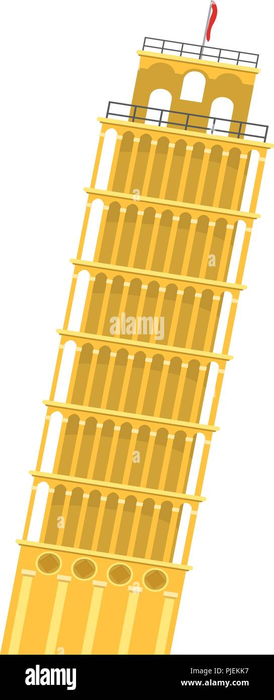 medieval leaning tower of pisa architecture - Stock Vector
