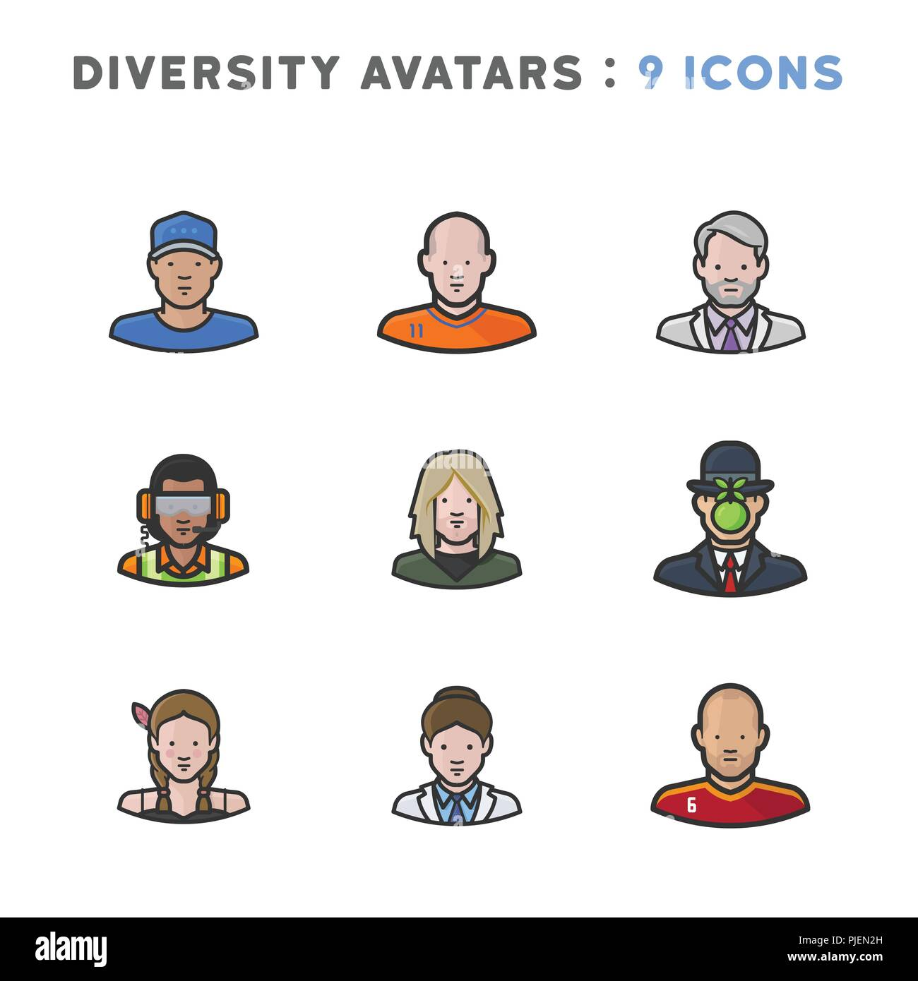 9 Avatars depicting diverse cultures, religions, and nationalities - Stock Vector