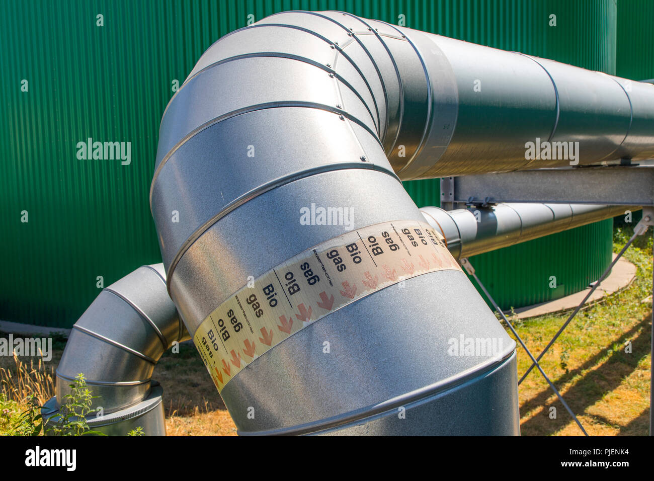 Biogas plant, pipeline for biogas in a biogas power plant