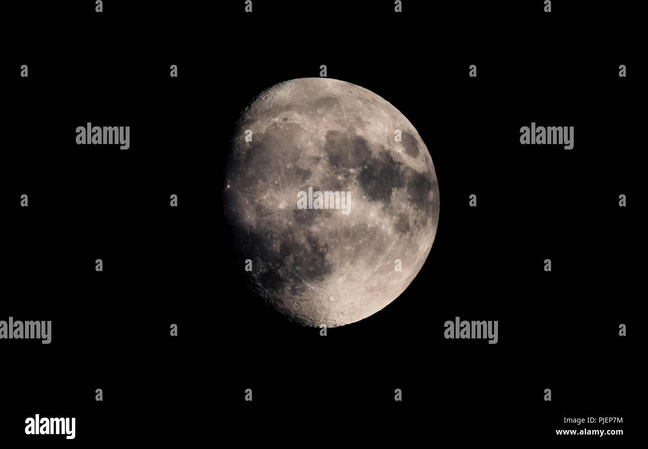 Moon at Waxing Gibbous phase in the night sky on 30th November 2017, from the UK. - Stock Image