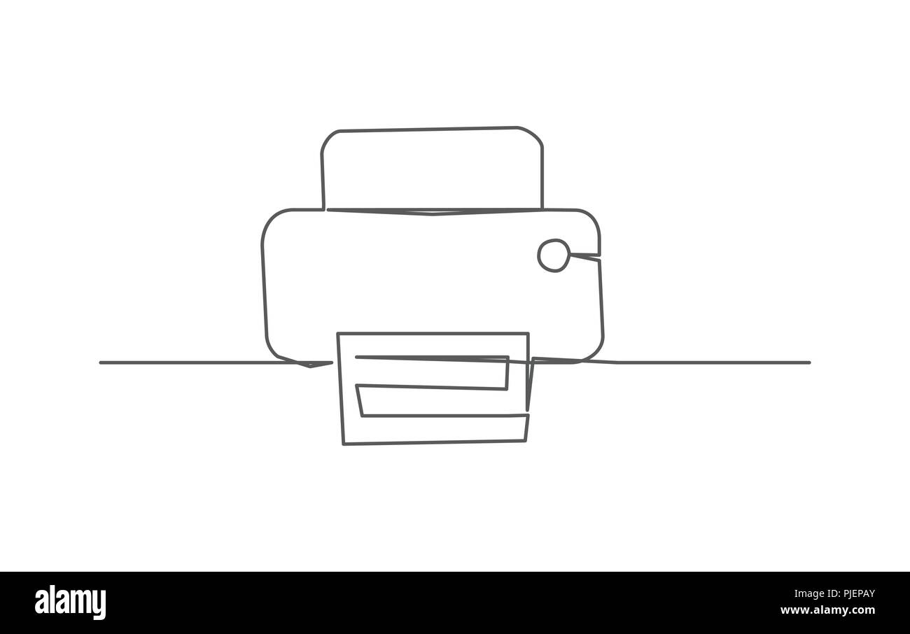 Printer One line drawing - Stock Image