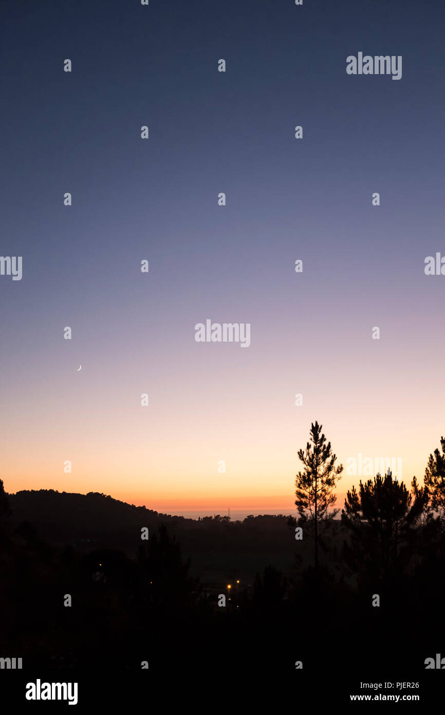 View at sunset from Casa de Rabiela near Vila Praia de Ancora, Northen Portugal. - Stock Image
