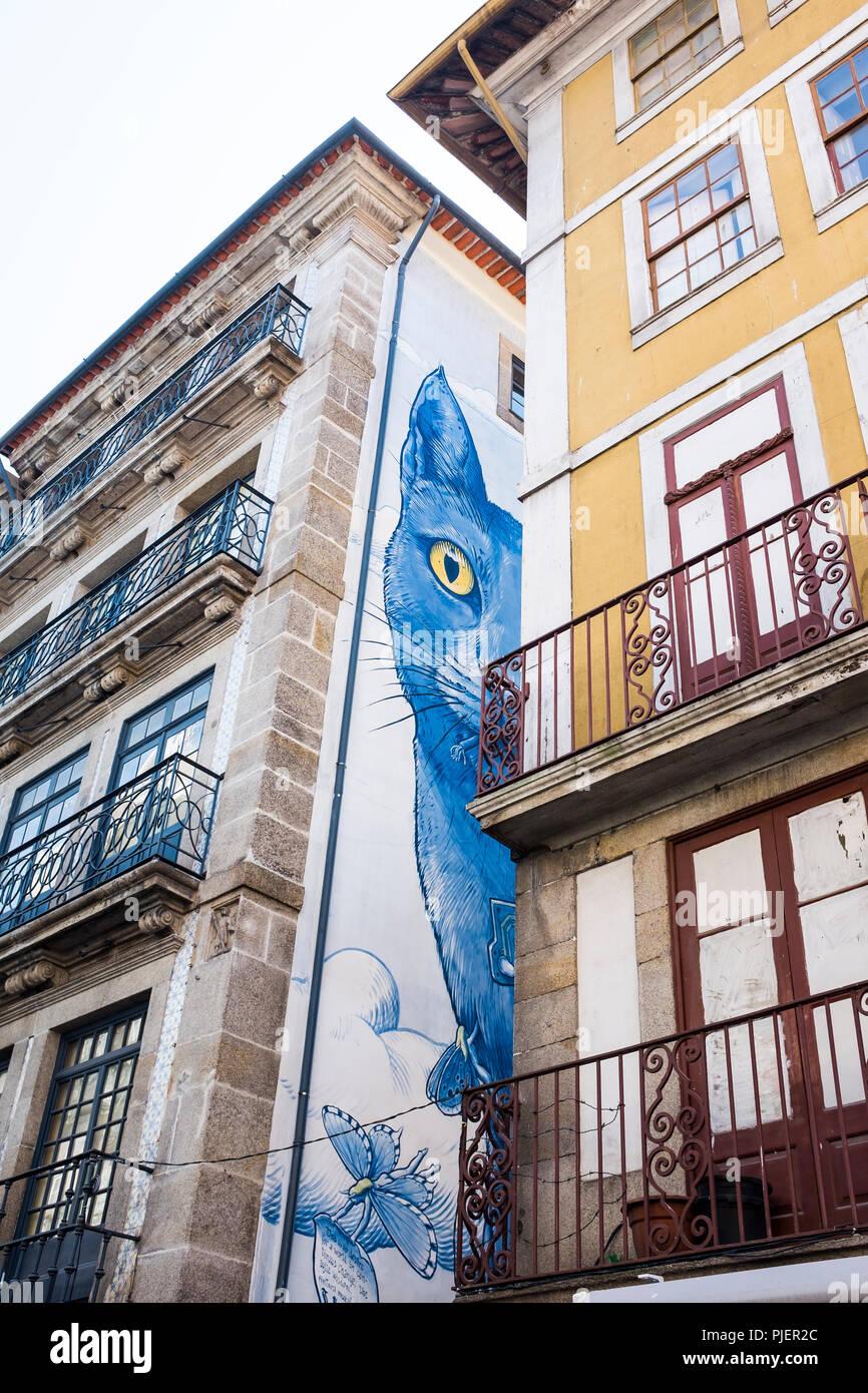 Street Art, Rua das Flores, Porto, Portugal. Stock Photo