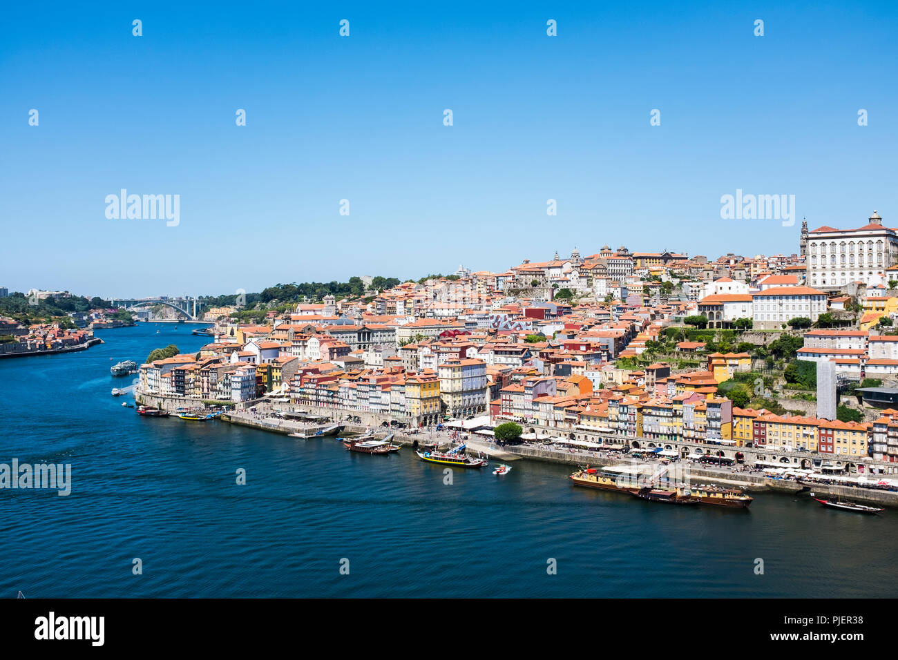 View of The Ribiera, Porto from Vila Nova de Gaia, Portugal. Stock Photo