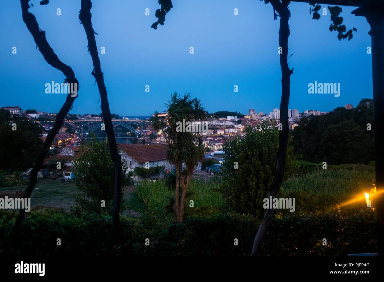 View from Vinum, the restaurant and wine bar at Graham's Port Lodge, Vila Nova de Gaia, Porto, Portugal. Stock Photo