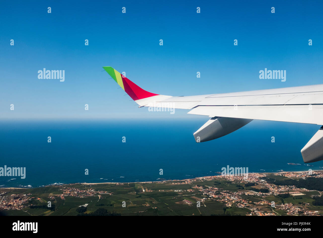 Flying over Northen Portugal with TAP Air Portugal. Stock Photo