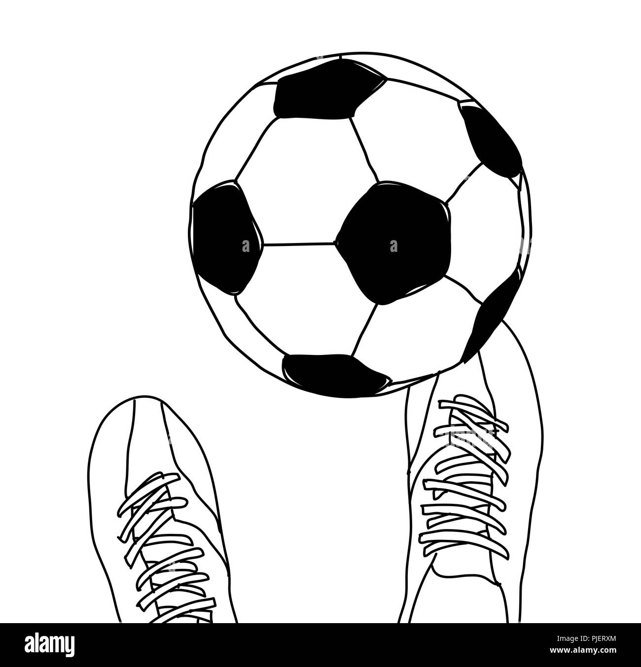 Football player and soccer ball top view black and white - Stock Vector