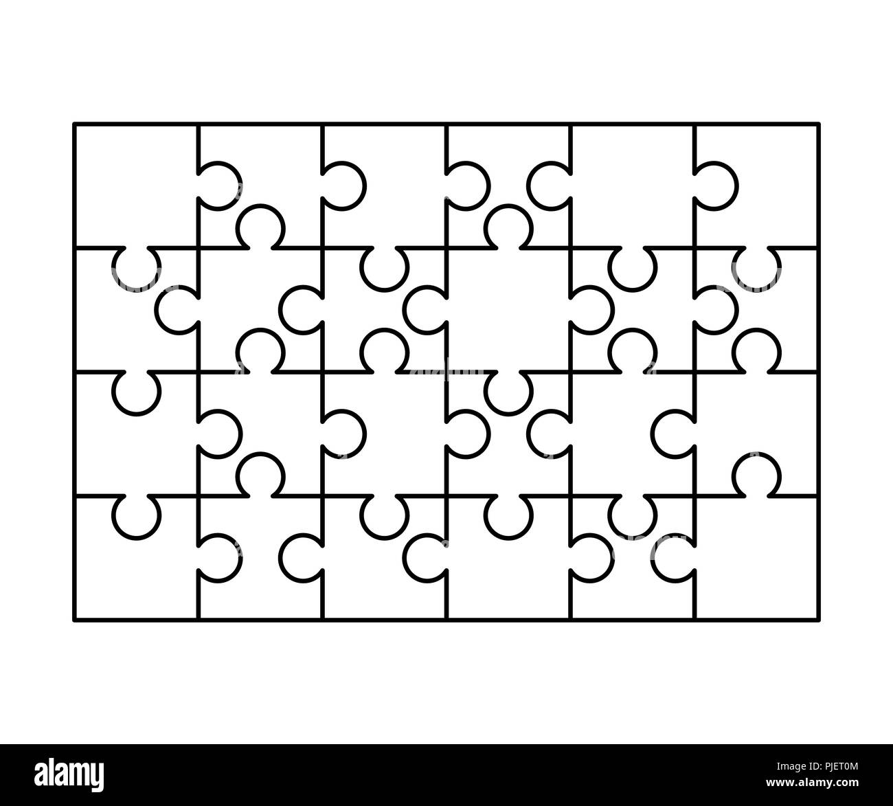 24 White Puzzles Pieces Arranged In A Rectangle Shape Jigsaw Puzzle
