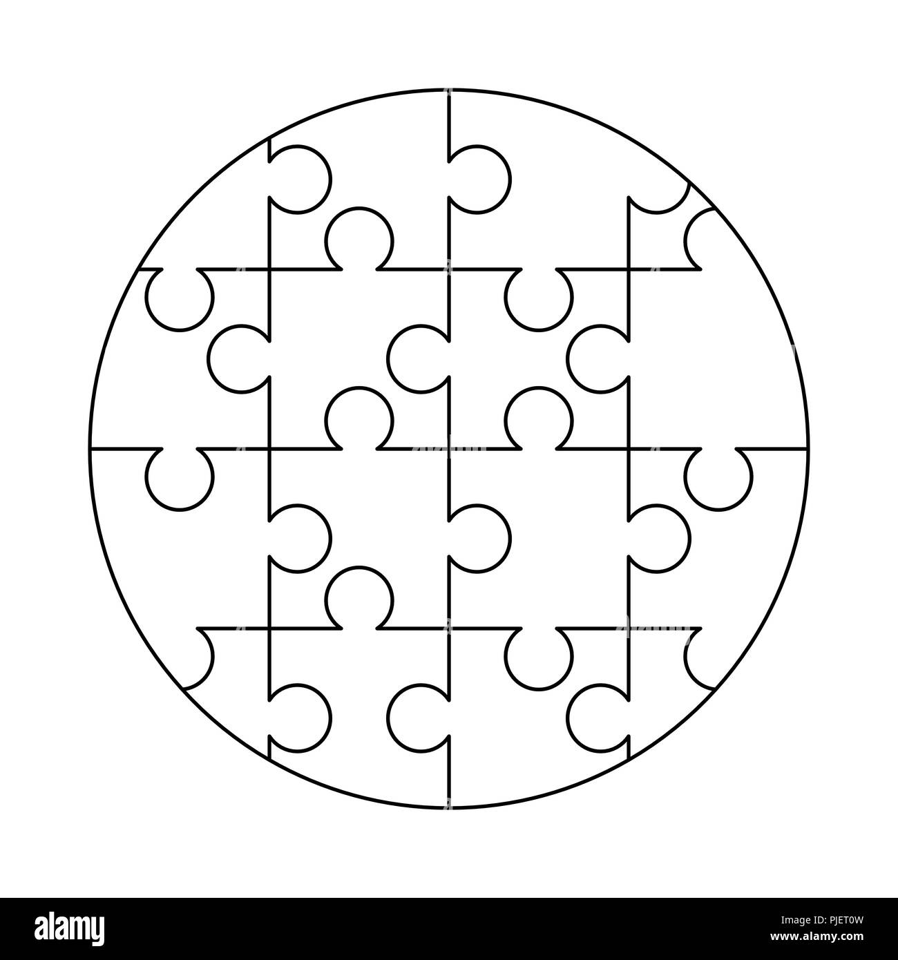 16 white puzzles pieces arranged in a round shape jigsaw puzzle